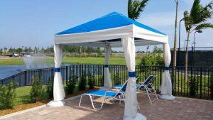 Blue and white pavilion