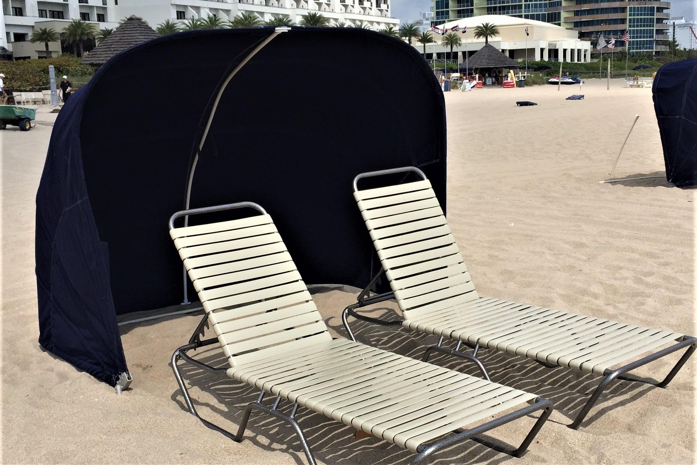 Black cabana on beach