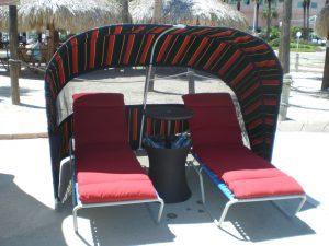 Striped luxury cabana