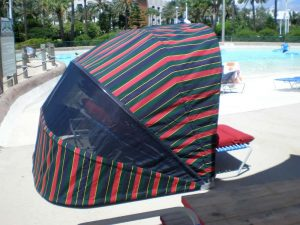 Green red and blue Striped cabana