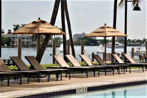 Woodgrain umbrellas by pool