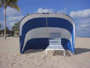 Blue and white cabana