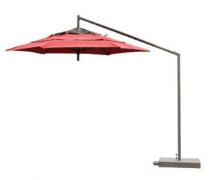 Red cantinlever umbrella