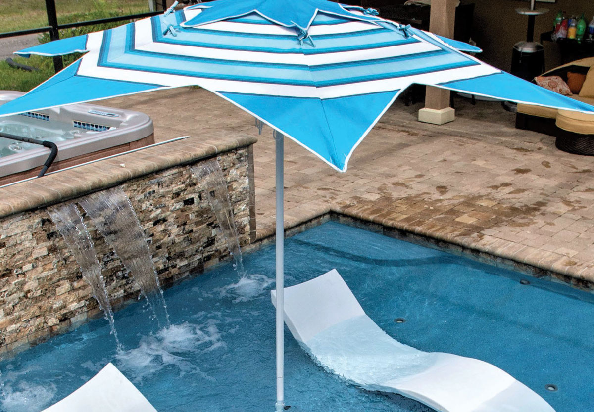 Blue and white striped star umbrella