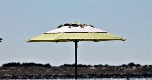 White and white umbrella