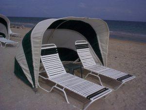 Green and white cabana