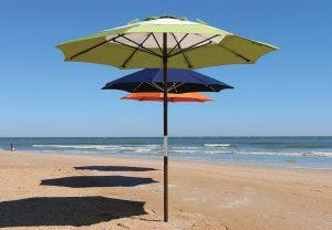 3 umbrellas in a line