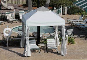 Grey Pavilion by pool