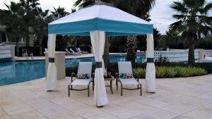 White and blue pavilion