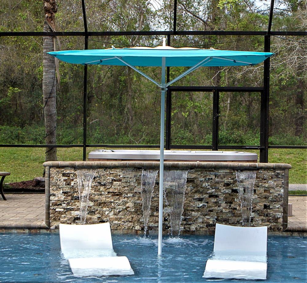 square blue umbrella