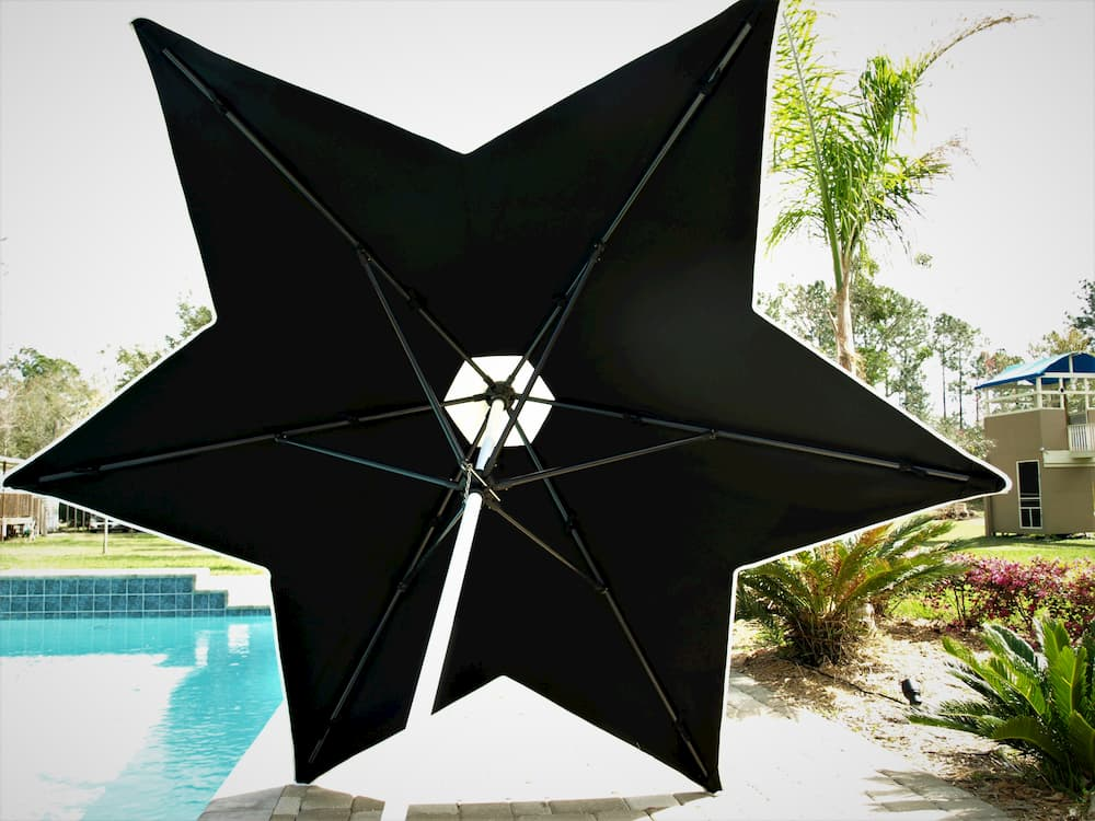 Black star shaped umbrella