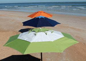 three umbrellas in a row